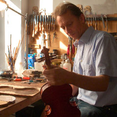 Wolfgang Schiele in his violin making workshop